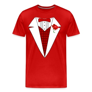 Valentine's Day Tuxedo T-Shirt, Red Heart w/ Rose - Men's Premium T-Shirt