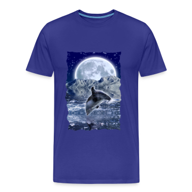 """Crystallion"" Leaping Dolphin & Moon"