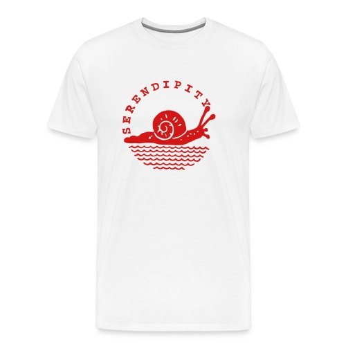 snail men's red logo on white - Men's Premium T-Shirt
