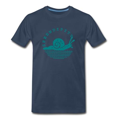 snail men's teal logo on navy - Men's Premium T-Shirt