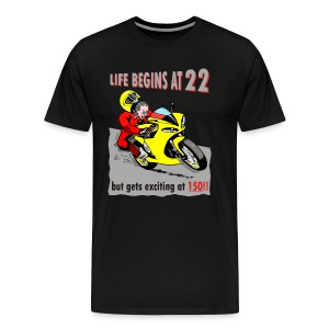Life begins at 22, Superbike cartoon - Men's Premium T-Shirt
