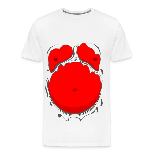 Comic Fat Belly Red, beer gut, beer belly, chest t-shirt - Men's Premium T-Shirt