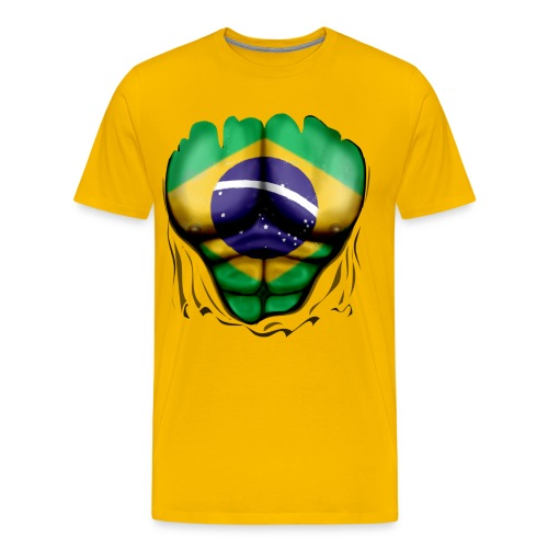 Brazil Flag Ripped Muscles, six pack, chest t-shirt - Men's Premium T-Shirt