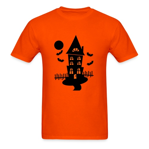 WUBT 'Halloween Haunted House, Bats And Black Moon--Vector' Men's HW Tee, Orange - Men's T-Shirt