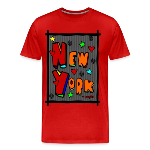 WUBT 'Funky new York In A Frame--DIGITAL DIRECT' Men's 3XL Tee, Red - Men's Premium T-Shirt