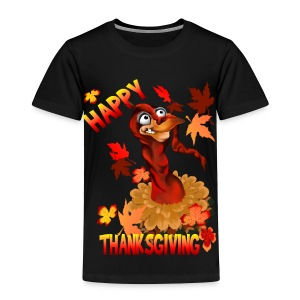 Thanksgiving Turkey and Autumn Leaves - Toddler Premium T-Shirt