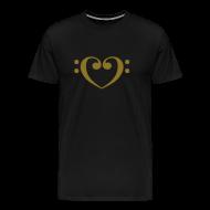 T-Shirts ~ Men's Premium T-Shirt ~ Bass Clef Gold Heart