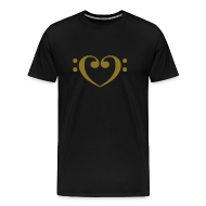 T-Shirts ~ Men's Premium T-Shirt ~ Bass Clef Gold Heart