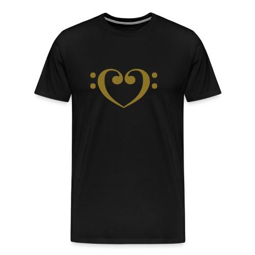 Bass Clef Gold Heart - Men's Premium T-Shirt