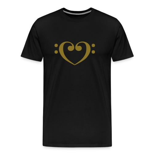 Bass Clef Gold Heart - Men's Premium T-Shirt