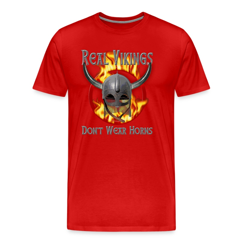 Real Vikings Don't Wear Horns - Red T-Shirt - Men's Premium T-Shirt