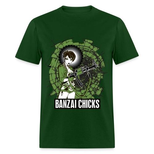 Men's Green Banzai Chicks Army Girl T-shirt - Men's T-Shirt