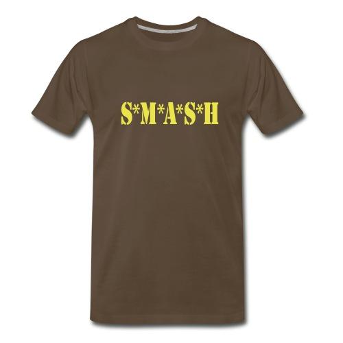 Men's Chocolate Heavy Weight with Yellow SMASH w/vball back - Men's Premium T-Shirt