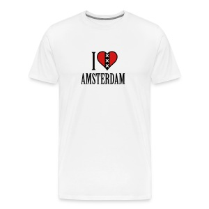 I Love Amsterdam Men's Heavyweight T-shirt - Men's Premium T-Shirt