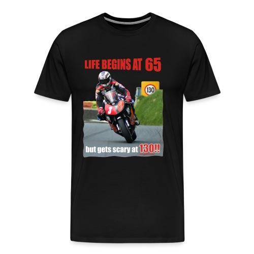 Life begins at 65, Road Racing - Men's Premium T-Shirt