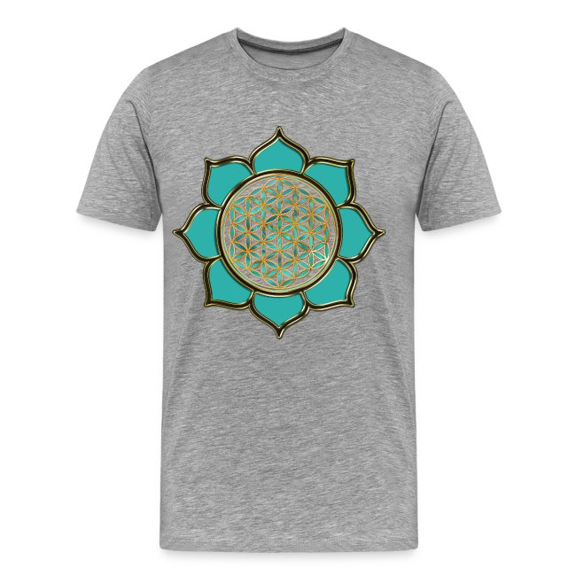 FLOWER OF LIFE - lotus ocean green | men's 3XL shirt | Men's Premium T-Shirt