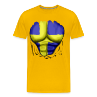 T-Shirts ~ Men's Premium T-Shirt ~ Sweden Flag Ripped Muscles, six pack, chest t-shirt