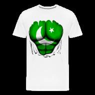 T-Shirts ~ Men's Premium T-Shirt ~ Pakistan Flag Ripped Muscles, six pack, chest t-shirt