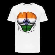 T-Shirts ~ Men's Premium T-Shirt ~ India Flag Ripped Muscles, six pack, chest t-shirt