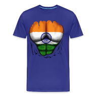T-Shirts ~ Men's Premium T-Shirt ~ India Flag Ripped Muscles, six pack, chest t-shirt