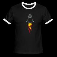 T-Shirts ~ Men's Ringer T-Shirt ~ Rocket (Black Ringer)