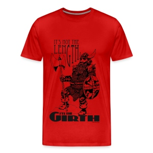 Dwarf - It's not the length... Black on Red men's T - Men's Premium T-Shirt