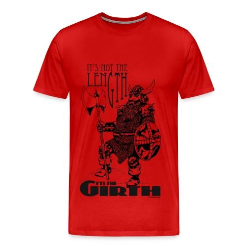 Dwarf - It's not the length... Black on Red men's T - Men's Premium T-Shirt
