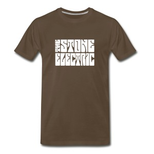 The Stone Electric Tee in Brown with white logo - Men's Premium T-Shirt