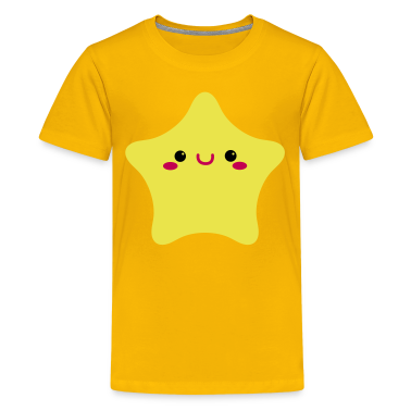 kawaii face on a rounded star cute! Kids' Shirts