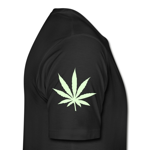 Mens Glow-In-The-Dark High Life Tee W/ Marijuana Leaf Sleeve - Men's Premium T-Shirt