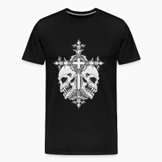 Gothic Cross with Skulls T-Shirts