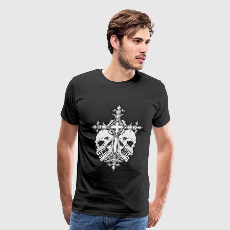 Gothic Cross with Skulls T-Shirts - Men's Premium T-Shirt