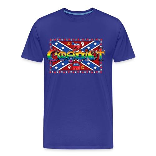 Men's Coexist T-Shirt with Skulls and Hearts Border Front Print - Men's Premium T-Shirt