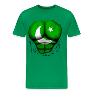 T-Shirts ~ Men's Premium T-Shirt ~ Pakistan Flag Ripped Muscles, six pack, chest t-shirt