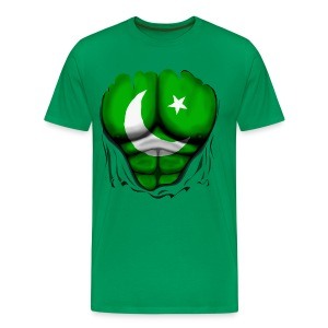 Pakistan Flag Ripped Muscles, six pack, chest t-shirt - Men's Premium T-Shirt
