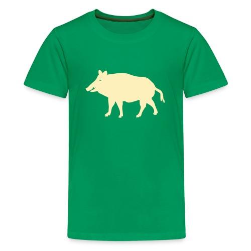 t-shirt wild boar hunter hunting forest animals nature pig rookie shoat - Kids' Premium T-Shirt