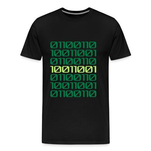 Binary Finary Code T-Shirt (Black - Greens) - Men's Premium T-Shirt