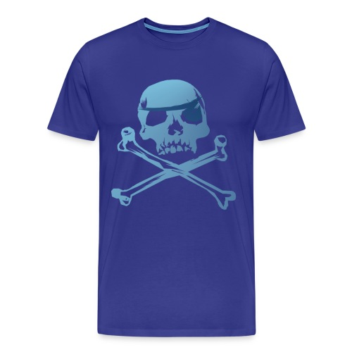 Blue Pirate Skull And Crossbones - Men's Premium T-Shirt