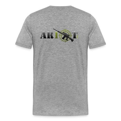 AR10T.com T-Shirt - Grey - Printed Back  - Men's Premium T-Shirt