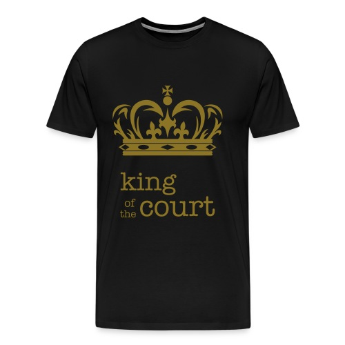 King of the Court Soccer T-Shirt Black and Gold - Men's Premium T-Shirt