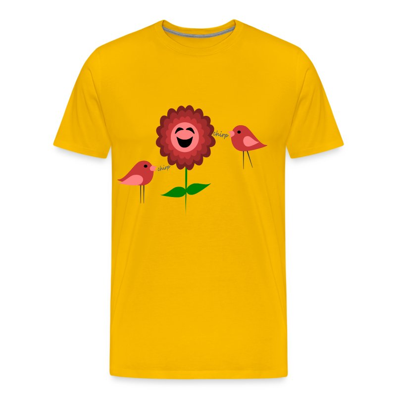 Laughing Flower Chirping Birds Digital Direct Print T