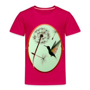 Dandelion and Tiny Green Hummingbird - Toddler Premium T-Shirt