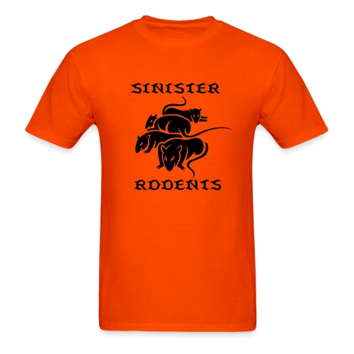 SINISTER RODENTS ORANGE/BLACK TEE. - Men's T-Shirt