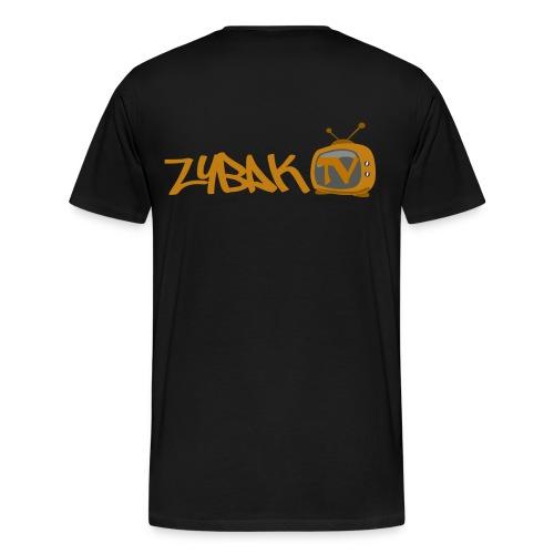 ZybakTV Cat Logo + Back Banner - Men's Premium T-Shirt