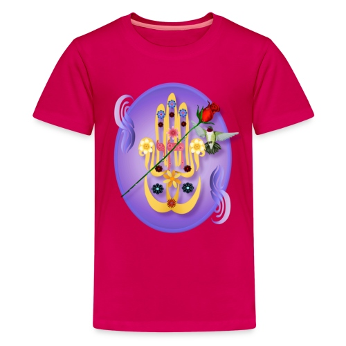 Hamsa and Flowers Oval - Kids' Premium T-Shirt