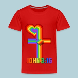 John 3:16/ Rainbow Cross - Toddler Premium T-Shirt