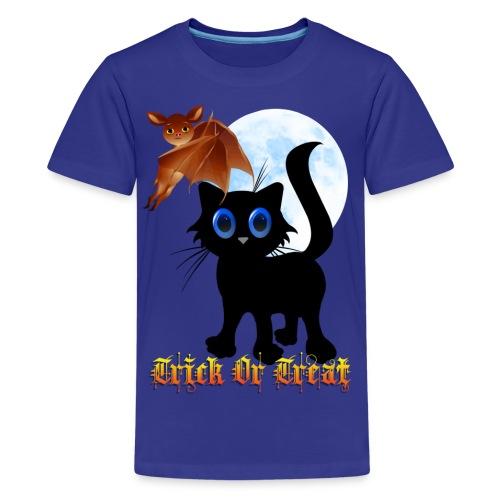 Trick Or Treat Black Kitten and Bat - Kids' Premium T-Shirt