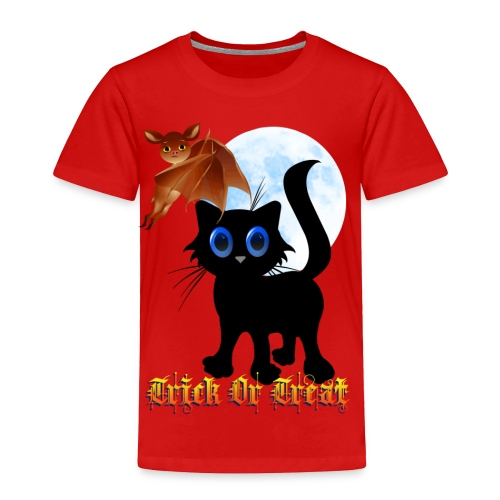 Trick Or Treat Black Kitten and Bat - Toddler Premium T-Shirt