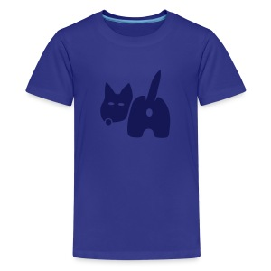 t-shirt dog ass wave tail behind comic petblow dog t-shirt - Kids' Premium T-Shirt