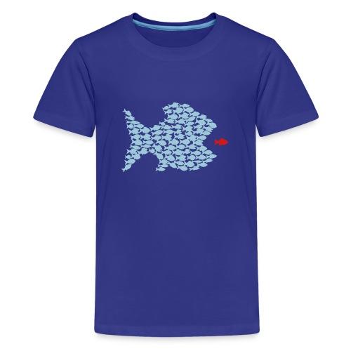 t-shirt fish swarm puffer fish blowfish pregnant hunt hunter ocean hunting fishing - Kids' Premium T-Shirt